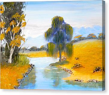 Canvas Print featuring the painting Lawson River by Pamela  Meredith