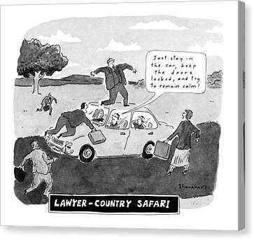 Lawyer-country Safari 'just Stay In The Car Canvas Print