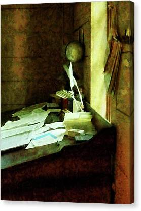 Canvas Print featuring the photograph Lawyer - Desk With Quills And Papers by Susan Savad