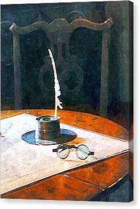 Lawyer - Quill And Spectacles Canvas Print by Susan Savad