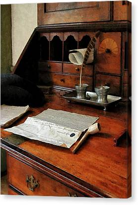 Canvas Print featuring the photograph Lawyer - Quill Papers And Pipe by Susan Savad