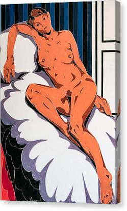 Laying Nude Canvas Print by Varvara Stylidou