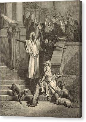 Lazarus And The Rich Man Canvas Print by Antique Engravings