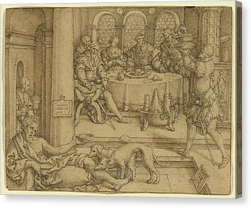 Lazarus Begging For Crumbs From Divess Table Heinrich Canvas Print by Litz Collection