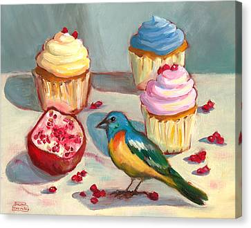 Canvas Print featuring the painting Lazuli Bunting And Pomegranate Cupcakes by Susan Thomas