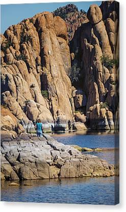 Lazy Day At Watson Lake Canvas Print by Diane Wood