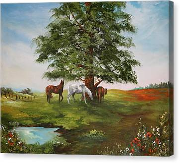 Canvas Print featuring the painting Lazy Days In Summer by Jean Walker