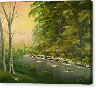 Canvas Print featuring the painting Lazy River by Chris Fraser