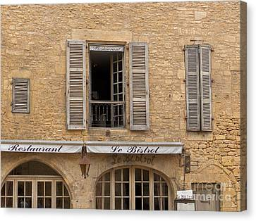 Canvas Print featuring the photograph Le Bistro Restaurant by Paul Topp