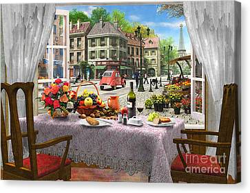 Window Canvas Print - Le Cafe Paris by Dominic Davison