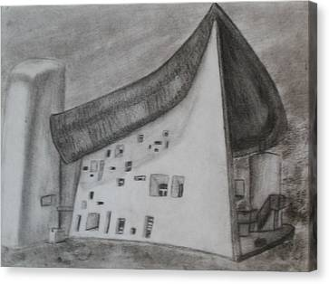 Canvas Print featuring the drawing Le Corbusier by Thomasina Durkay