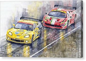 Le Mans 2011 Gte Pro Chevrolette Corvette C6r Vs Ferrari 458 Italia Canvas Print by Yuriy  Shevchuk