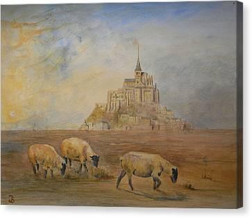 Le Mont Saint Michel Canvas Print by Juan  Bosco