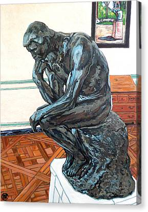 Canvas Print featuring the painting Le Penseur The Thinker by Tom Roderick