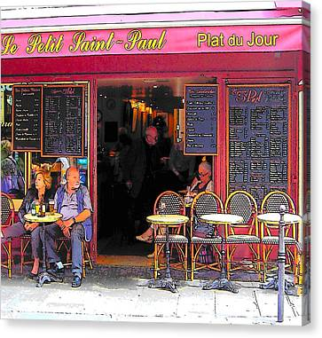 Wine Scene Canvas Print - Le Petit Saint-paul In Paris by Jan Matson