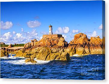 Le Phare Du Paon Lighthouse Brittany Ile De Brehat Canvas Print by Colin and Linda McKie