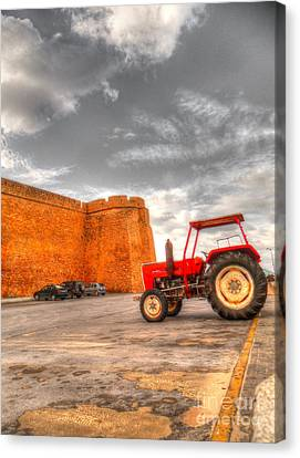 Le Tracteur Rouge Canvas Print by Dhouib Skander