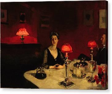 Le Verre De Porto - A Dinner Table At Night Canvas Print