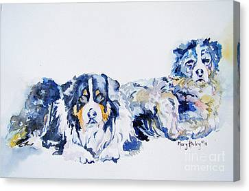 Canvas Print featuring the painting Leadville Street Dogs by Mary Haley-Rocks
