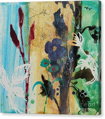 Canvas Print featuring the painting Leaf Flower Berry by Robin Maria Pedrero