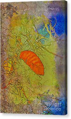 Leaf In The Moss Canvas Print by Deborah Benoit