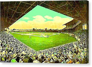 League Park Stadium In Cleveland Oh Around 1915 Canvas Print by Dwight Goss
