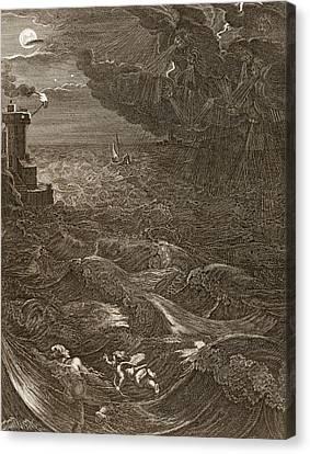 Moonlit Canvas Print - Leander Swims Over The Hellespont by Bernard Picart