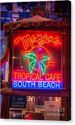 Leaning On Mango's South Beach Miami Canvas Print by Ian Monk