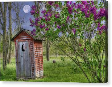 Leaning Outhouse Canvas Print by David Simons