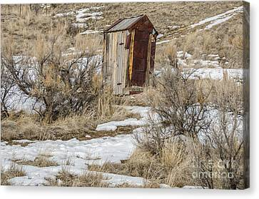 Leaning Outhouse Canvas Print by Sue Smith