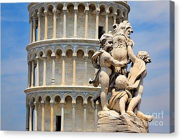 Leaning Tower And Sculpture Canvas Print