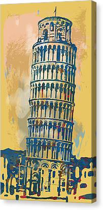 Leaning Tower Of Pisa  - Pop Stylised Art Poster   Canvas Print by Kim Wang