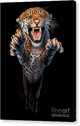 Leopard Canvas Print - Leaping Leopard by Andrew Farley