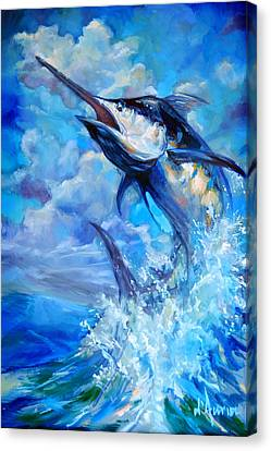 Leaping Marlin Canvas Print by Tom Dauria