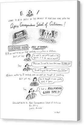 Criticism Canvas Print - Learn To Be A Critic In The Privacy Of Your Own by Roz Chast