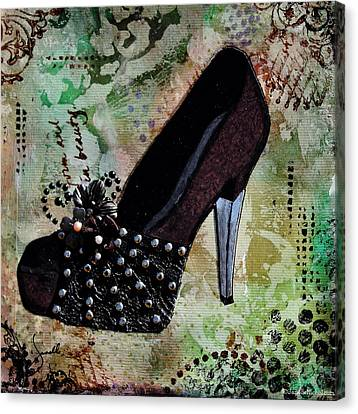 Leather And Lace Shoes With Abstract Background Canvas Print by Janelle Nichol