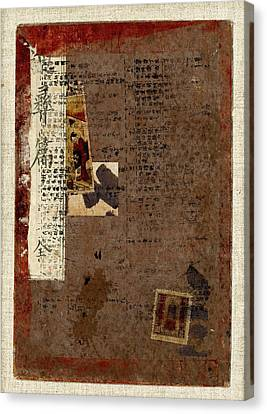 Leather Journal Collage Canvas Print by Carol Leigh