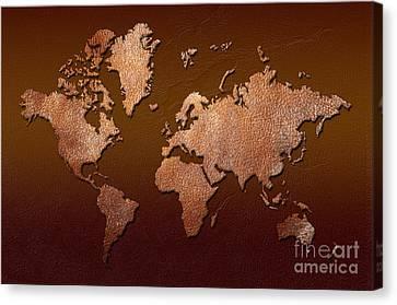 Leather World Map Canvas Print by Zaira Dzhaubaeva