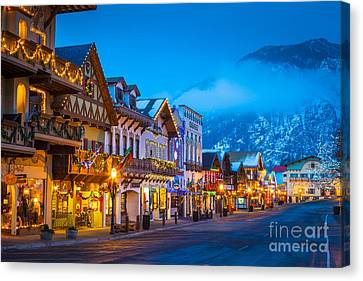 Streetlight Canvas Print - Leavenworth Skyline by Inge Johnsson