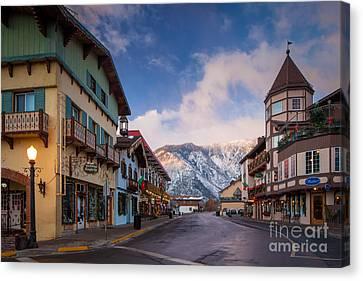 Streetlight Canvas Print - Leavenworth Winter Street by Inge Johnsson
