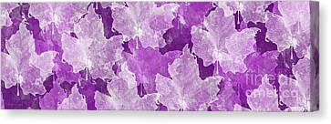Leaves In Radiant Orchid Panorama Canvas Print by Andee Design