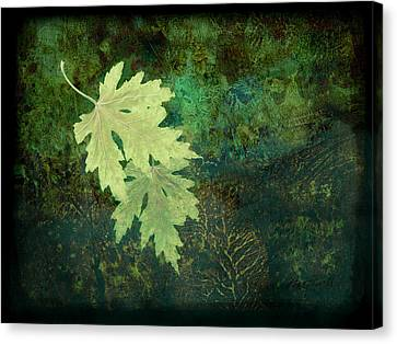 Leaves On Green Canvas Print by Ann Powell