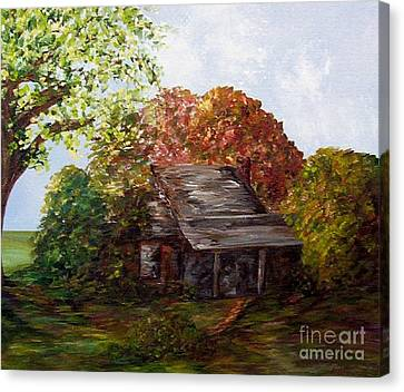 Leaves On The Cabin Roof Canvas Print by Eloise Schneider