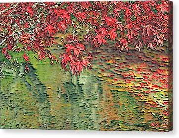 Leaves On The Creek 3 Canvas Print by L Brown