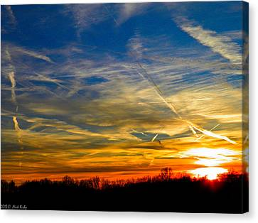Leavin On A Jetplane Sunset Canvas Print