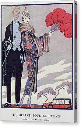 Leaving For The Casino Canvas Print by Georges Barbier