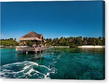 Leaving Kuramathi Resort. Maldives Canvas Print by Jenny Rainbow