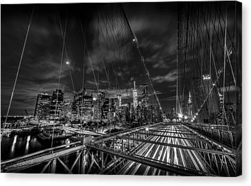 Sunset Canvas Print - Leaving New York City Via The Brooklyn Bridge Black And White by David Morefield