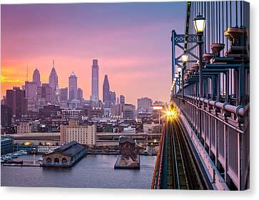 Canvas Print featuring the photograph Leaving Philadelphia by Mihai Andritoiu