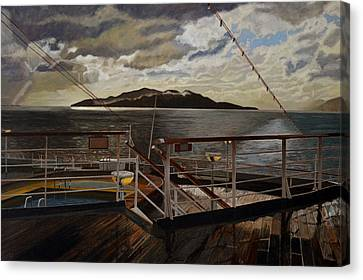 Leaving Queen Charlotte Sound Canvas Print by Thu Nguyen